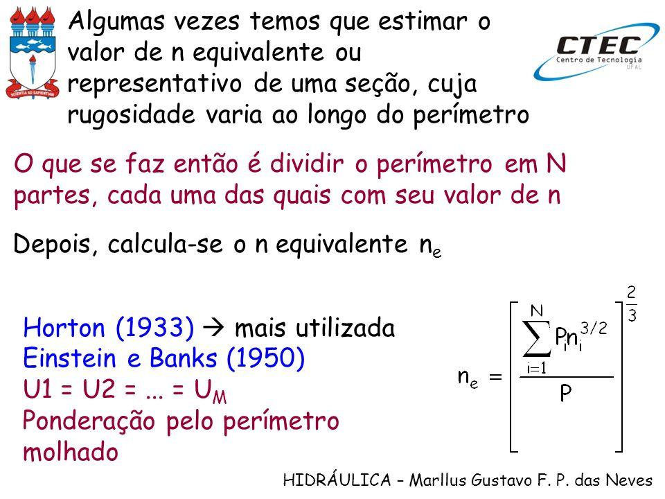 HIDRÁULICA – Marllus Gustavo F. P. das Neves Algumas vezes temos que estimar o valor de n equivalente ou representativo de uma seção, cuja rugosidade