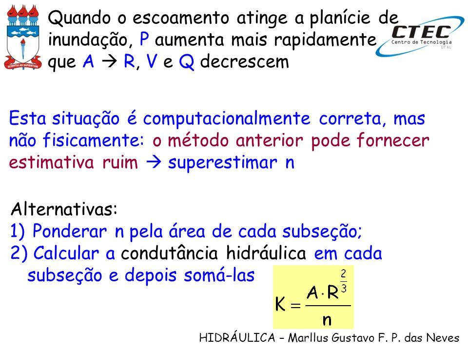 HIDRÁULICA – Marllus Gustavo F. P. das Neves Quando o escoamento atinge a planície de inundação, P aumenta mais rapidamente que A R, V e Q decrescem A