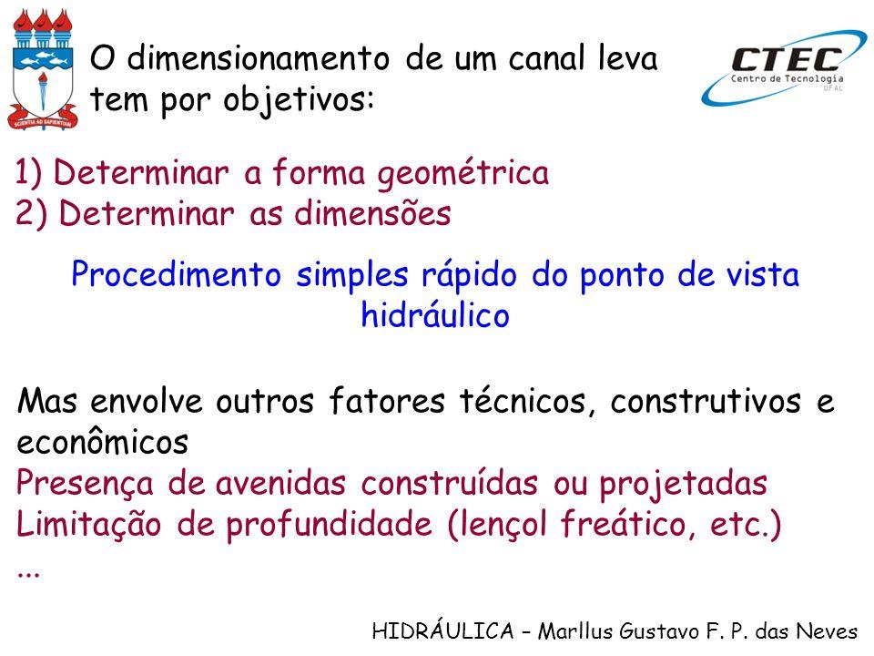 HIDRÁULICA – Marllus Gustavo F. P. das Neves 1) Determinar a forma geométrica 2) Determinar as dimensões Procedimento simples rápido do ponto de vista