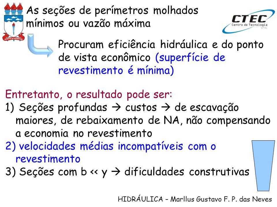 HIDRÁULICA – Marllus Gustavo F. P. das Neves Procuram eficiência hidráulica e do ponto de vista econômico (superfície de revestimento é mínima) Entret