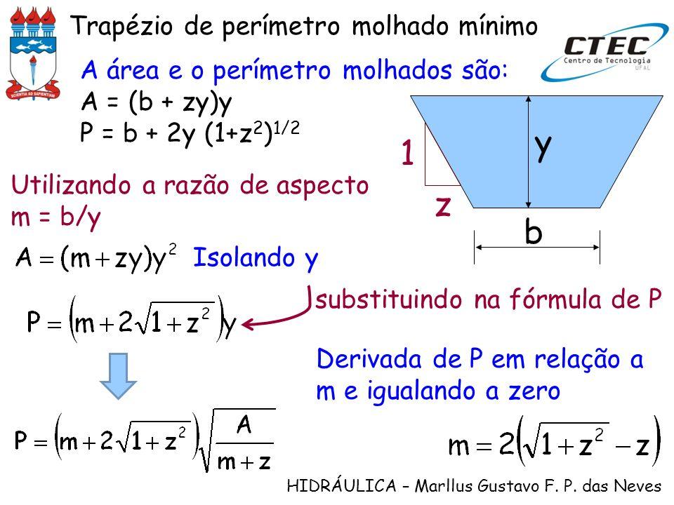 HIDRÁULICA – Marllus Gustavo F. P. das Neves A área e o perímetro molhados são: A = (b + zy)y P = b + 2y (1+z 2 ) 1/2 y b z 1 Utilizando a razão de as
