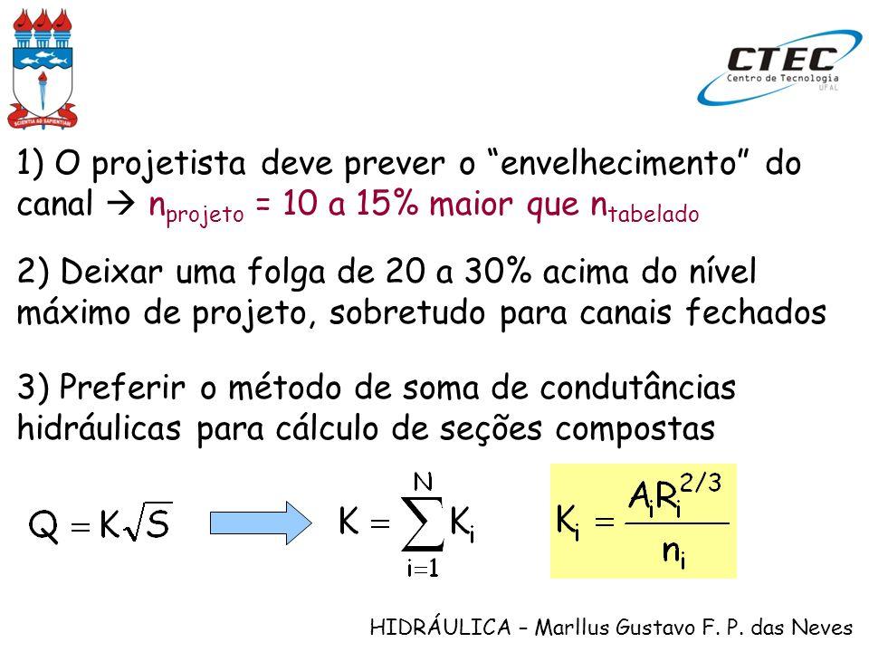 HIDRÁULICA – Marllus Gustavo F. P. das Neves 1) O projetista deve prever o envelhecimento do canal n projeto = 10 a 15% maior que n tabelado 2) Deixar