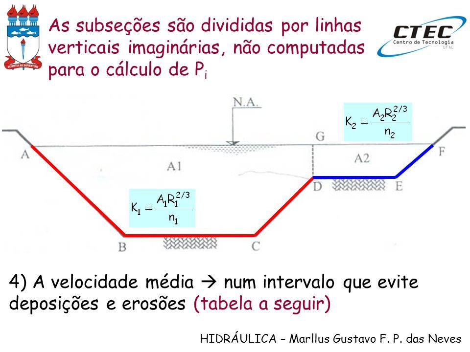 HIDRÁULICA – Marllus Gustavo F. P. das Neves As subseções são divididas por linhas verticais imaginárias, não computadas para o cálculo de P i 4) A ve