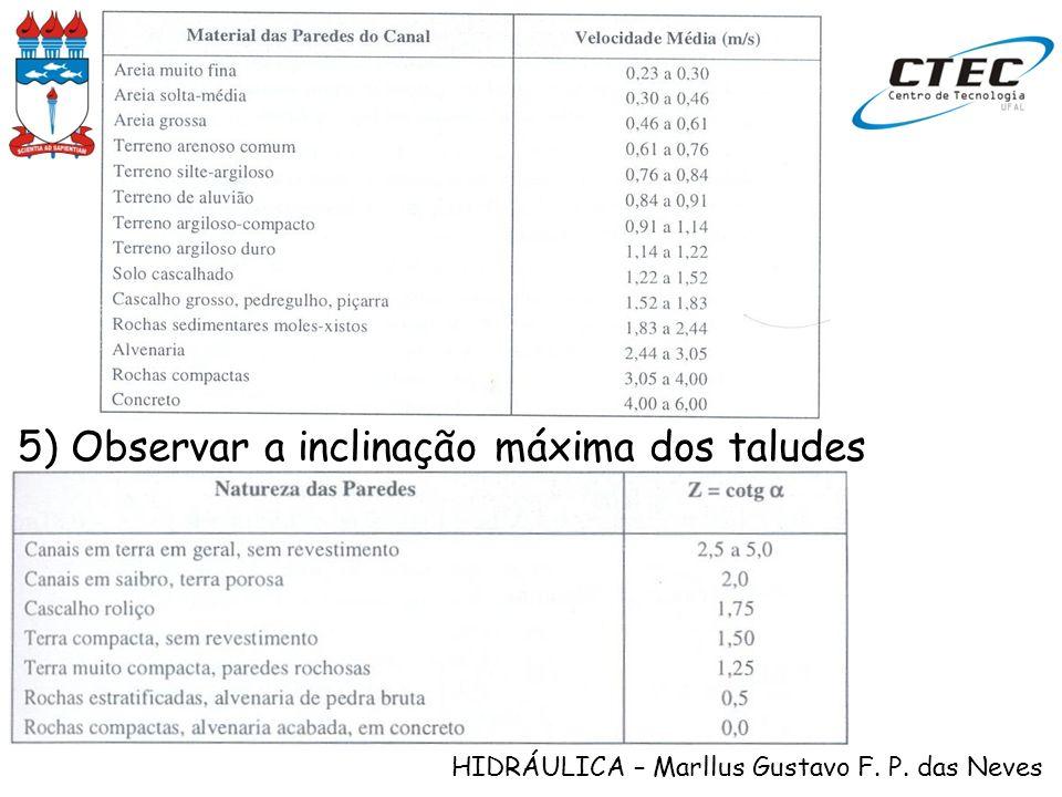 HIDRÁULICA – Marllus Gustavo F. P. das Neves 5) Observar a inclinação máxima dos taludes