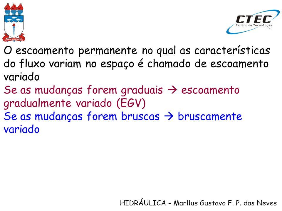HIDRÁULICA – Marllus Gustavo F. P. das Neves O escoamento permanente no qual as características do fluxo variam no espaço é chamado de escoamento vari