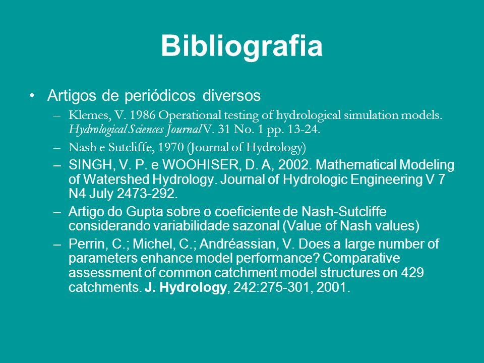 Bibliografia Artigos de periódicos diversos –Klemes, V. 1986 Operational testing of hydrological simulation models. Hydrological Sciences Journal V. 3