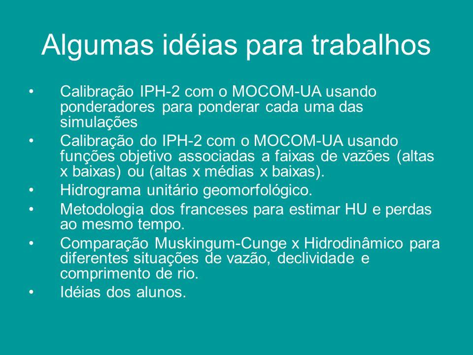 Algumas idéias para trabalhos Calibração IPH-2 com o MOCOM-UA usando ponderadores para ponderar cada uma das simulações Calibração do IPH-2 com o MOCO
