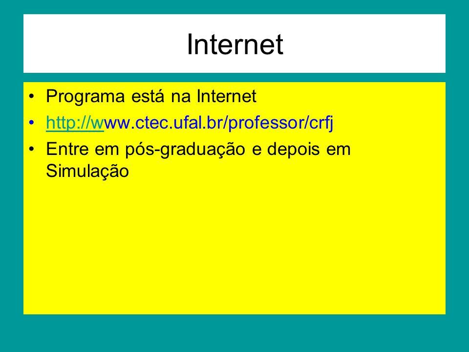 Internet Programa está na Internet http://www.ctec.ufal.br/professor/crfjhttp://w Entre em pós-graduação e depois em Simulação