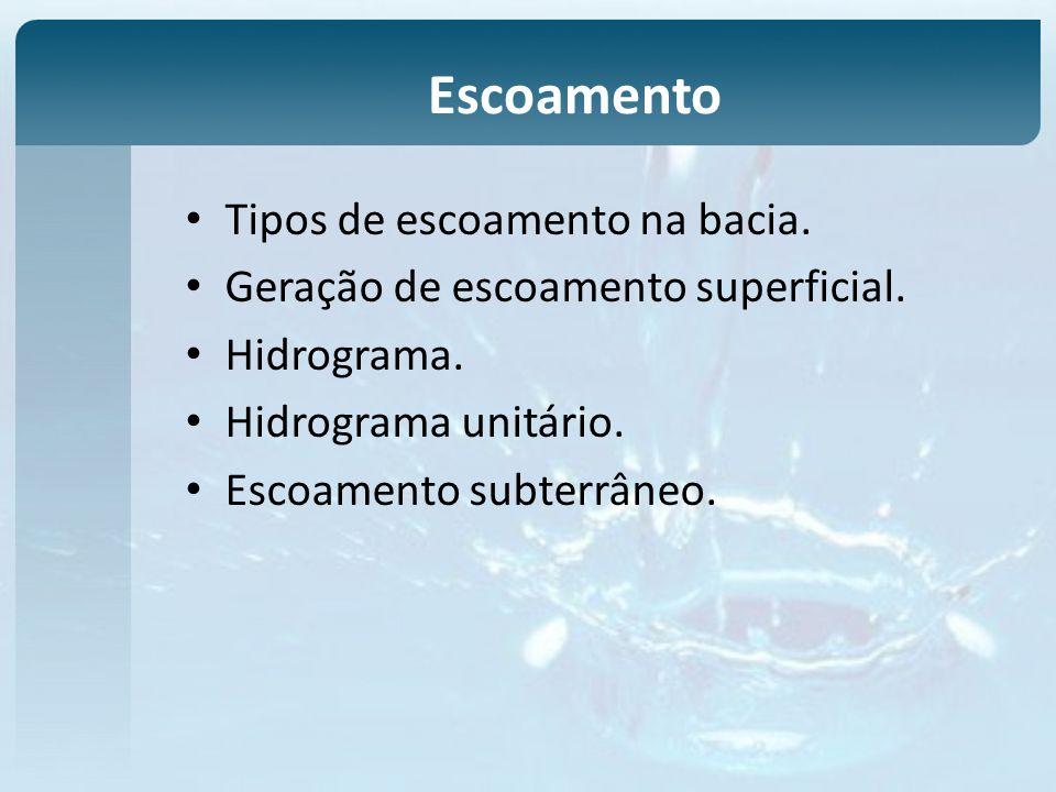 Escoamento Tipos de escoamento na bacia. Geração de escoamento superficial. Hidrograma. Hidrograma unitário. Escoamento subterrâneo.