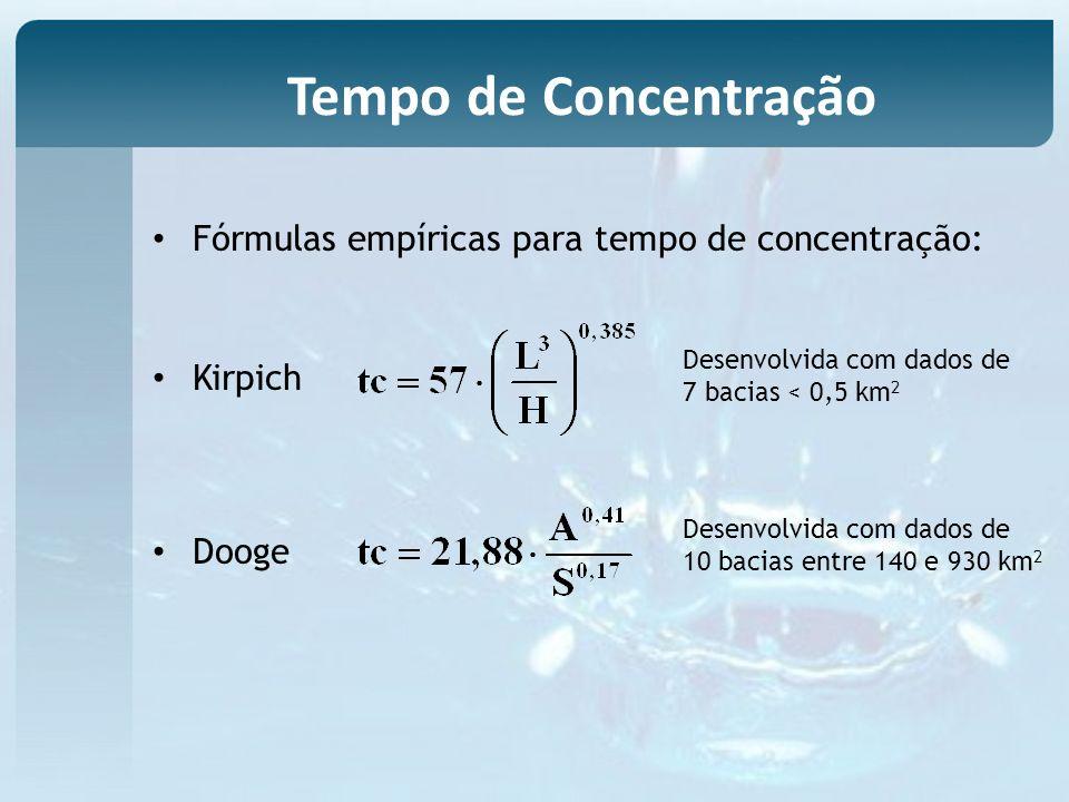 Fórmulas empíricas para tempo de concentração: Kirpich Dooge Desenvolvida com dados de 7 bacias < 0,5 km 2 Desenvolvida com dados de 10 bacias entre 140 e 930 km 2 Tempo de Concentração