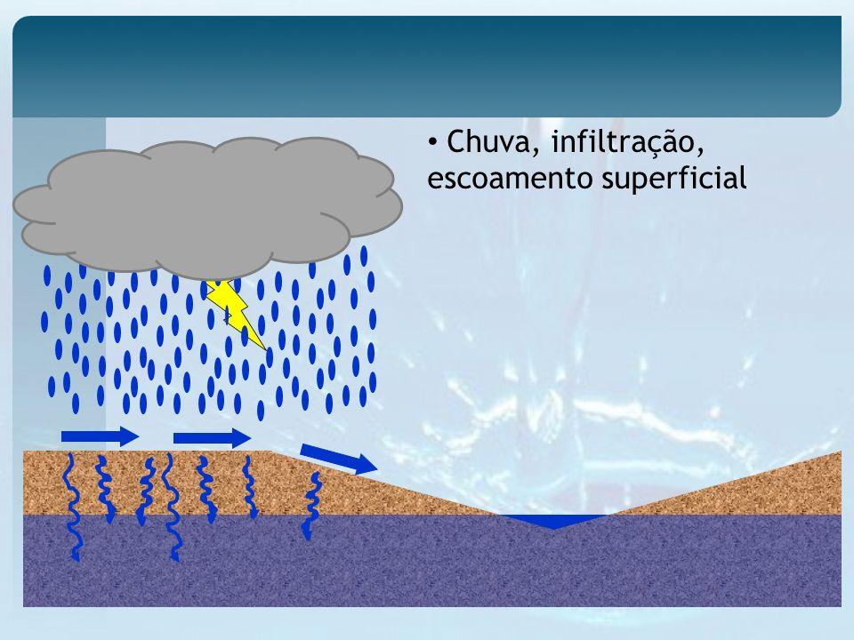 Superficial e Escoamento subterrâneo Sub-superficial Formação do Hidrograma 1 – Início do escoamento superficial 2 – Ascensão do hidrograma 3 – Pico do hidrograma 4 – Recessão do hidrograma 5 – Fim do escoamento superficial 6 – Recessão do escoamento subterrâneo 1 2 5 3 4 6