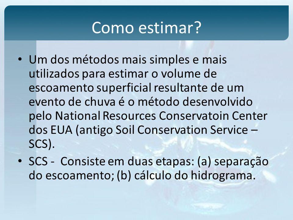 Como estimar? Um dos métodos mais simples e mais utilizados para estimar o volume de escoamento superficial resultante de um evento de chuva é o métod