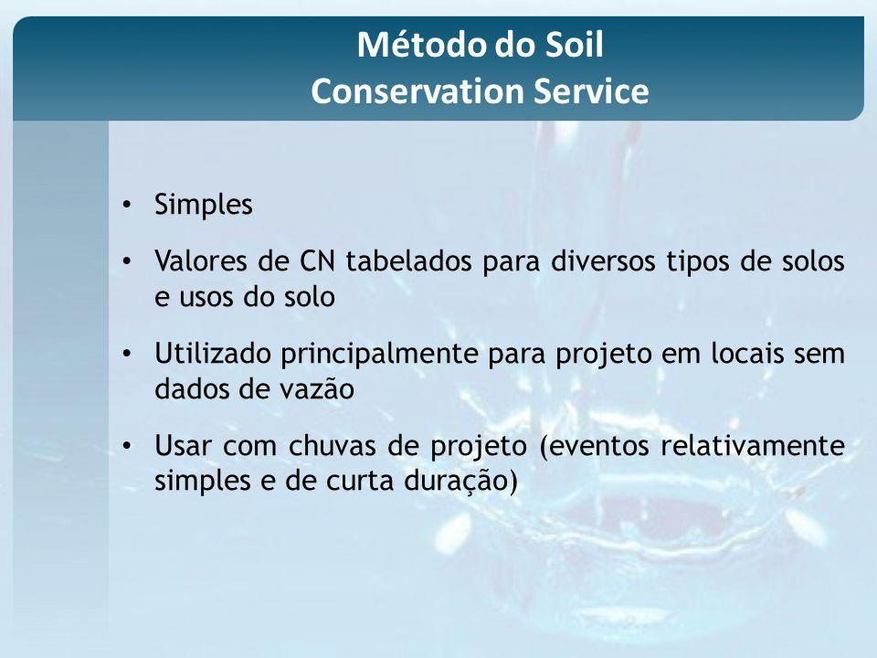 Simples Valores de CN tabelados para diversos tipos de solos e usos do solo Utilizado principalmente para projeto em locais sem dados de vazão Usar com chuvas de projeto (eventos relativamente simples e de curta duração) Método do Soil Conservation Service
