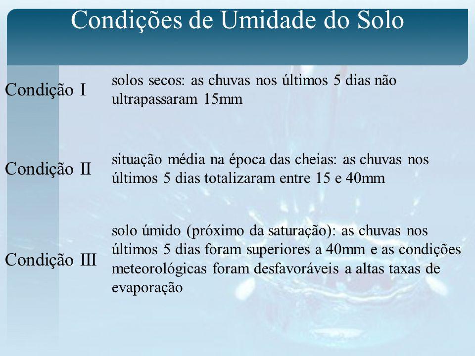 Condições de Umidade do Solo Condição I Condição II Condição III solos secos: as chuvas nos últimos 5 dias não ultrapassaram 15mm situação média na ép