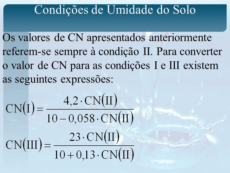 Condições de Umidade do Solo Os valores de CN apresentados anteriormente referem-se sempre à condição II.