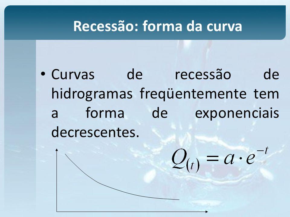 Curvas de recessão de hidrogramas freqüentemente tem a forma de exponenciais decrescentes.