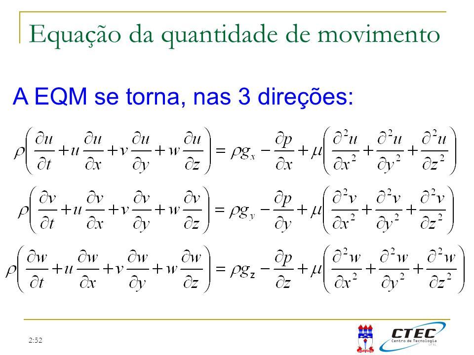 2:52 A EQM se torna, nas 3 direções: Equação da quantidade de movimento