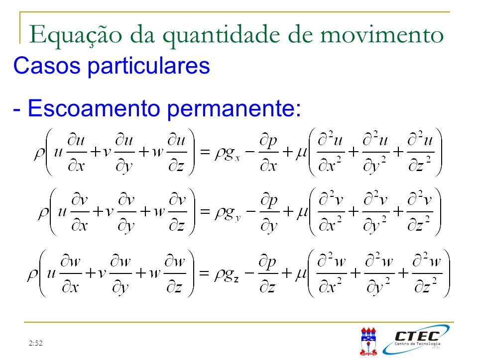 2:52 Casos particulares - Escoamento permanente: Equação da quantidade de movimento