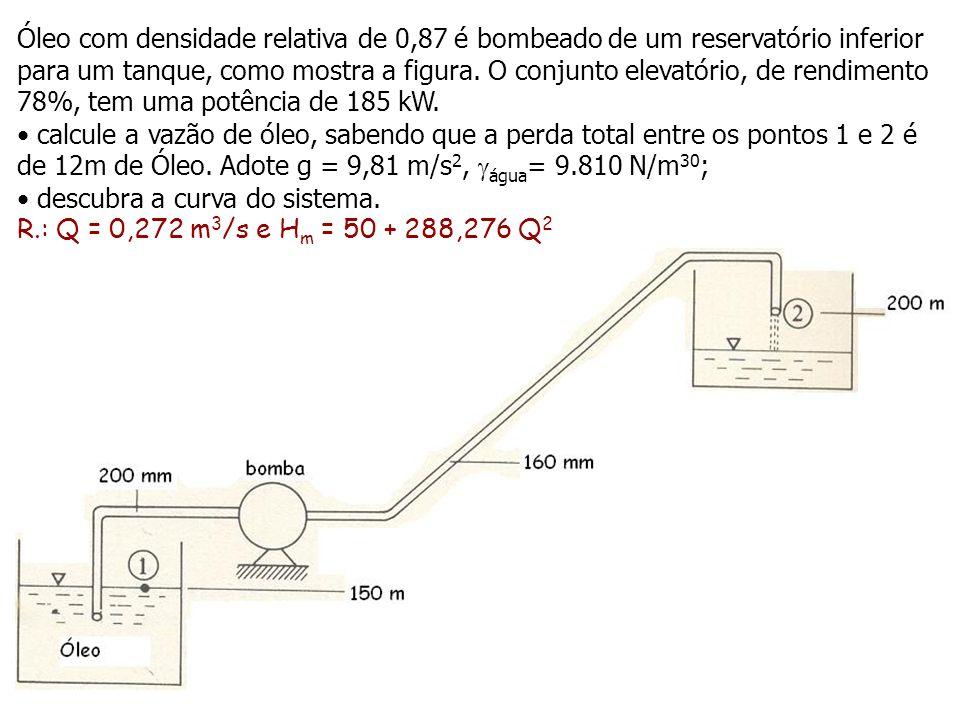 Óleo com densidade relativa de 0,87 é bombeado de um reservatório inferior para um tanque, como mostra a figura. O conjunto elevatório, de rendimento