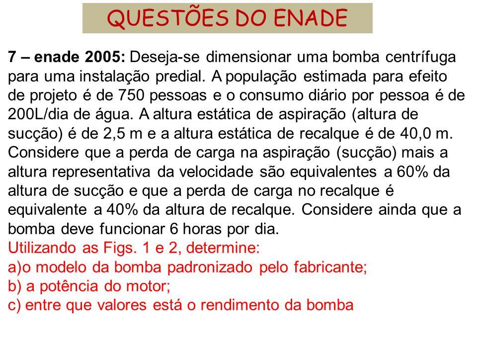 7 – enade 2005: Deseja-se dimensionar uma bomba centrífuga para uma instalação predial. A população estimada para efeito de projeto é de 750 pessoas e