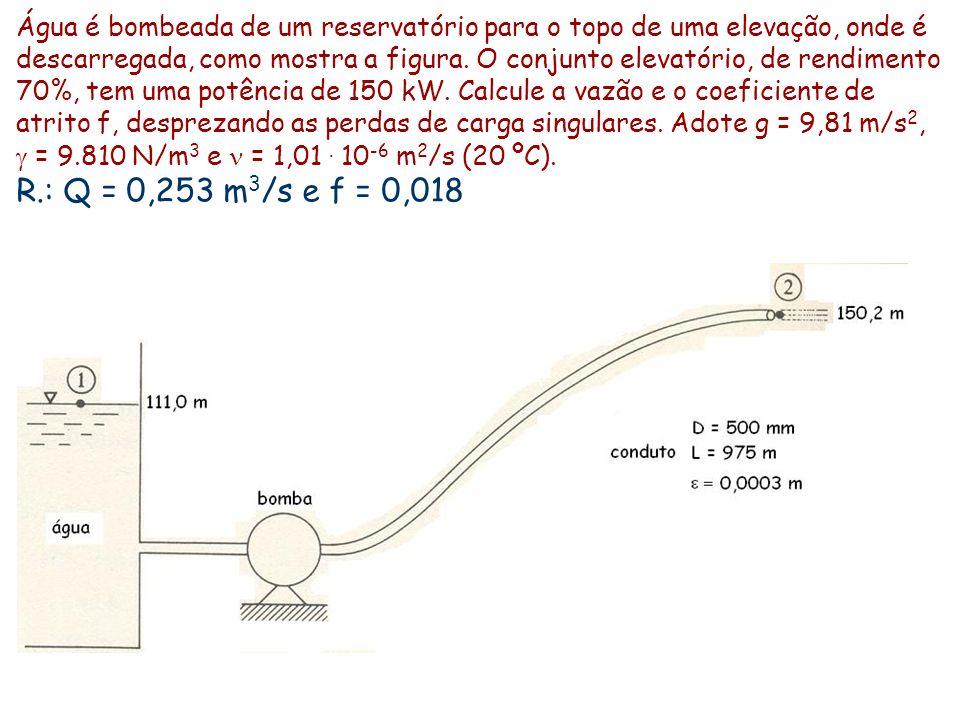 Água é bombeada de um reservatório para o topo de uma elevação, onde é descarregada, como mostra a figura. O conjunto elevatório, de rendimento 70%, t
