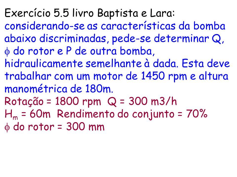 Exercício 5.5 livro Baptista e Lara: considerando-se as características da bomba abaixo discriminadas, pede-se determinar Q, do rotor e P de outra bom