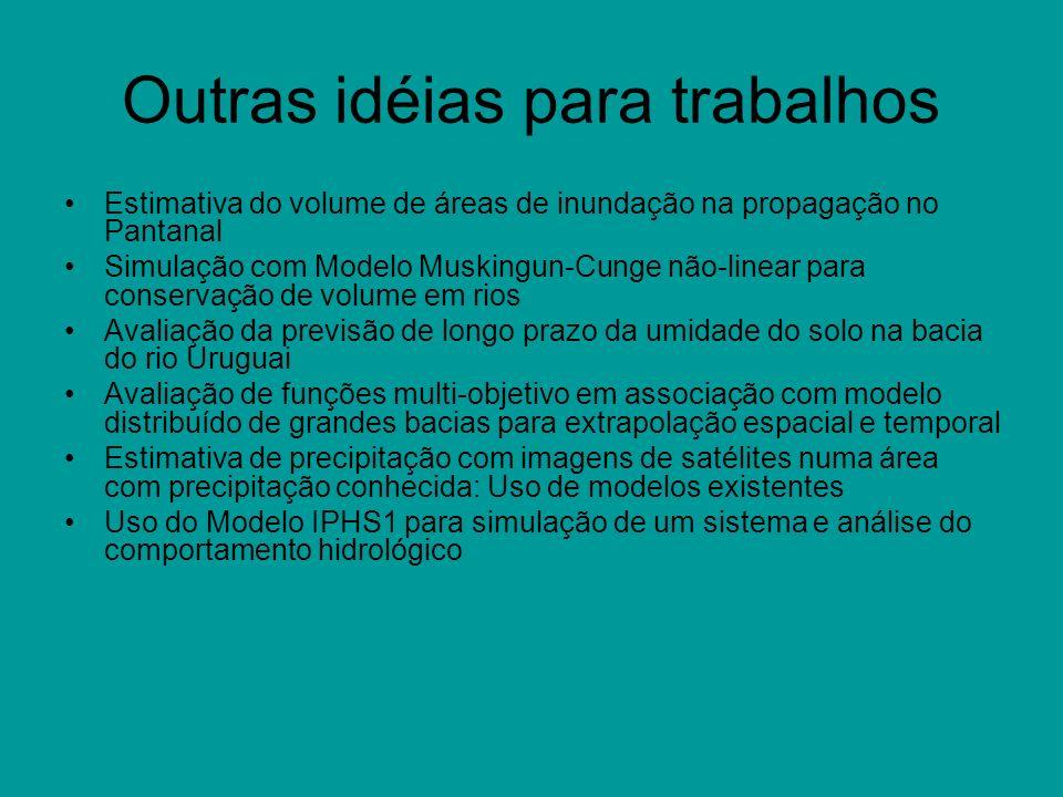 Outras idéias para trabalhos Estimativa do volume de áreas de inundação na propagação no Pantanal Simulação com Modelo Muskingun-Cunge não-linear para