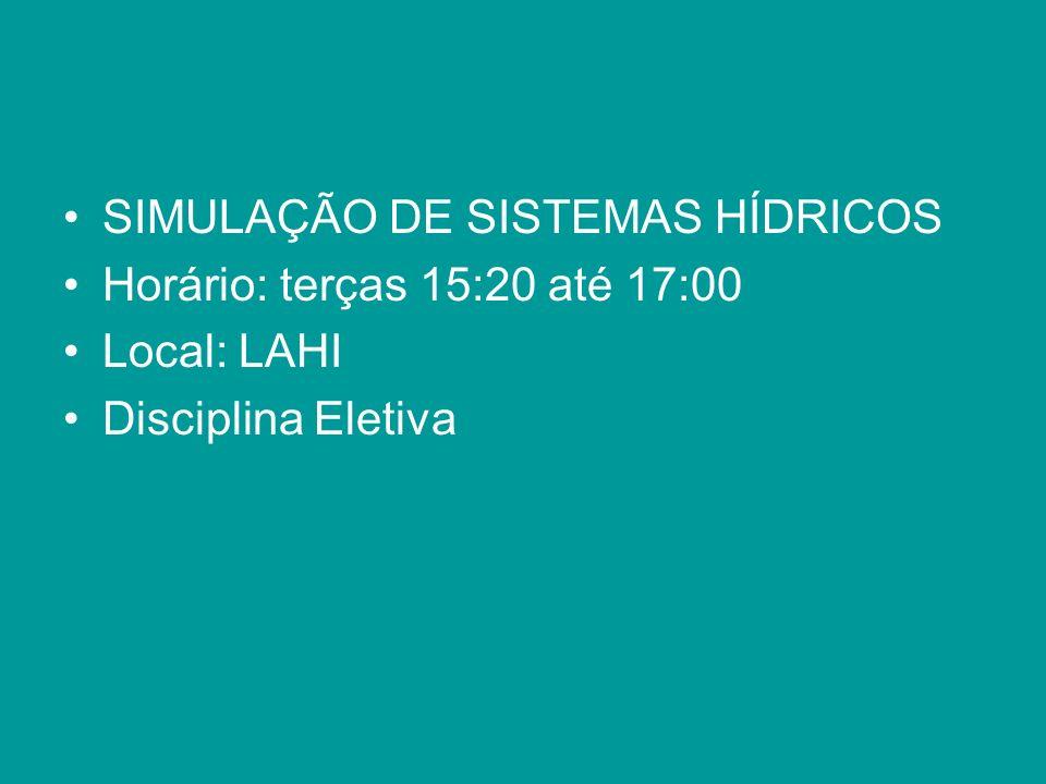 SIMULAÇÃO DE SISTEMAS HÍDRICOS Horário: terças 15:20 até 17:00 Local: LAHI Disciplina Eletiva