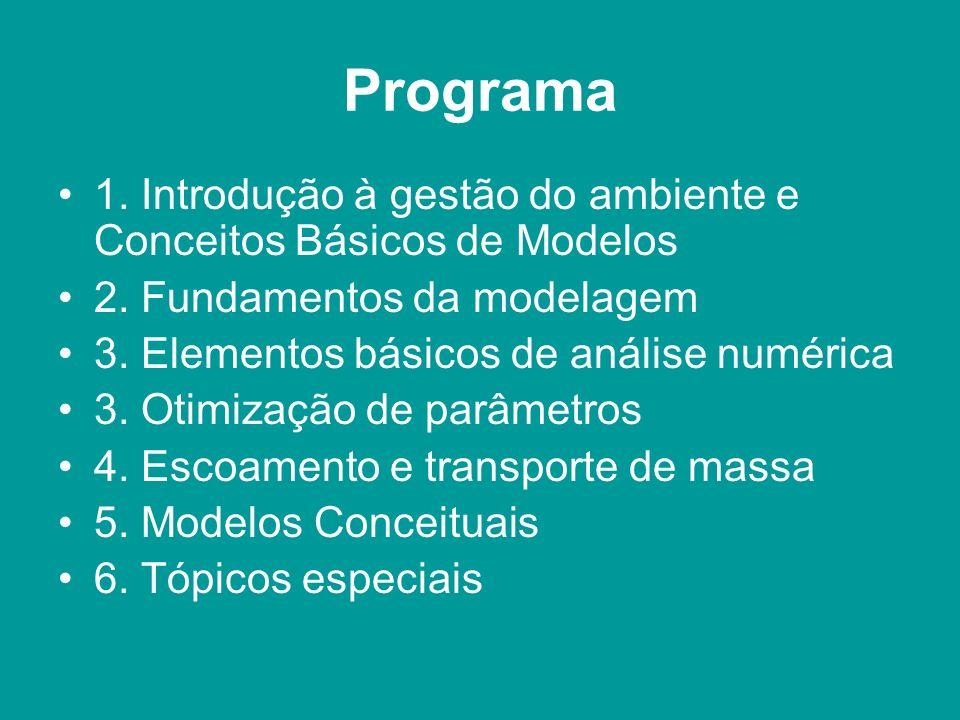 Programa 1. Introdução à gestão do ambiente e Conceitos Básicos de Modelos 2. Fundamentos da modelagem 3. Elementos básicos de análise numérica 3. Oti