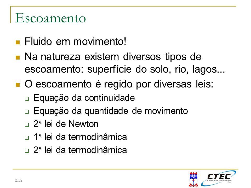 2:52 Equação da continuidade Princípio da conservação da massa: Taxa de matéria que entra Taxa de matéria que sai Taxa de variação interna -=