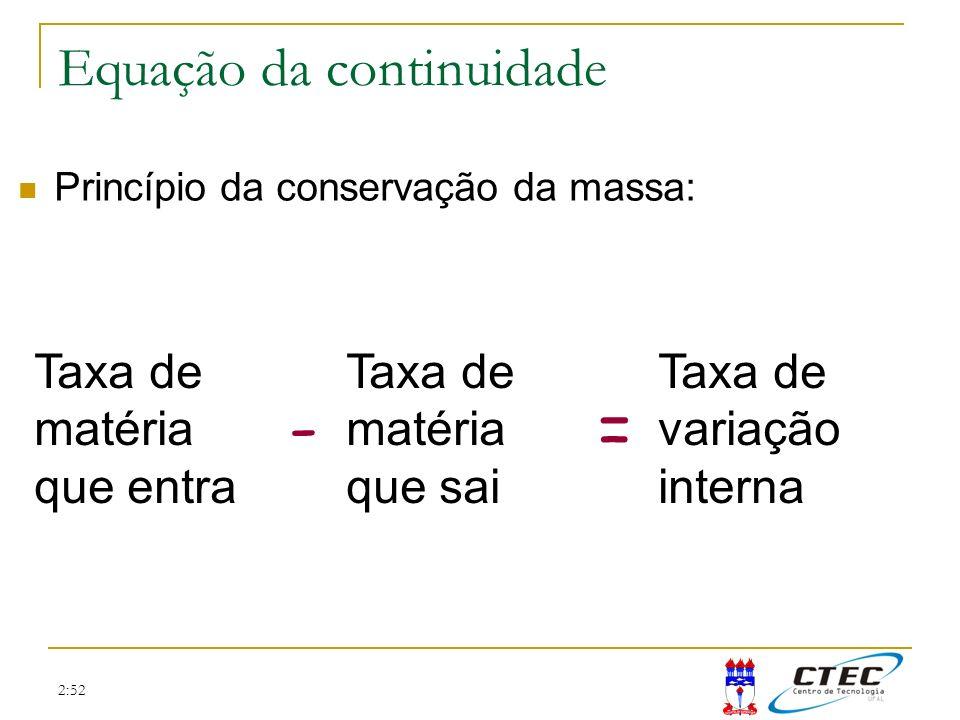 2:52 dx dy x y z dz Equação da continuidade