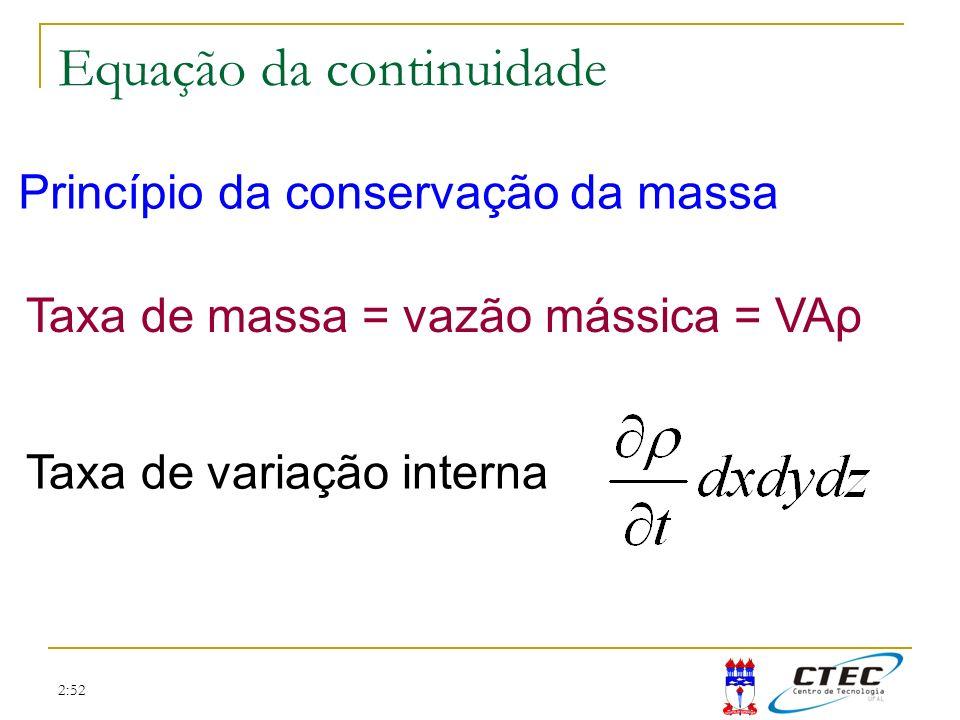 2:52 Equação da continuidade As vazões mássicas das faces da esquerda, de baixo e de trás, são, respectivamente As restantes se obtém expandindo as anteriores com a série de Taylor