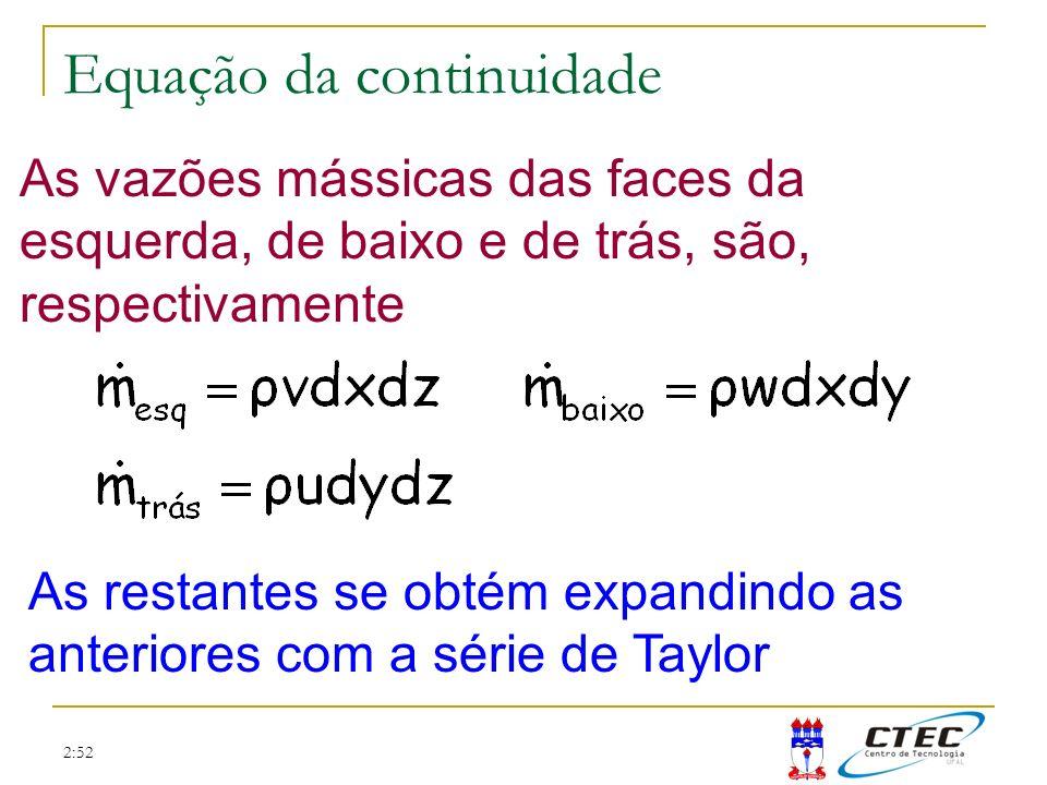 2:52 Equação da continuidade x y z
