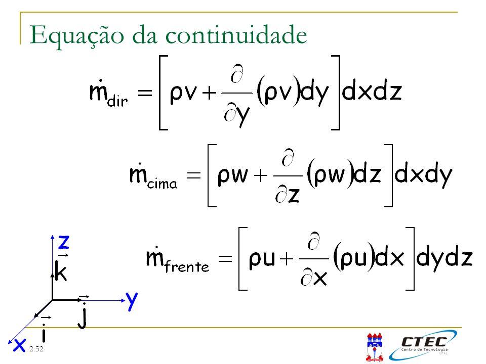 2:52 Equação da continuidade Taxa de matéria que entra Substituindo no princípio da conservação da massa =