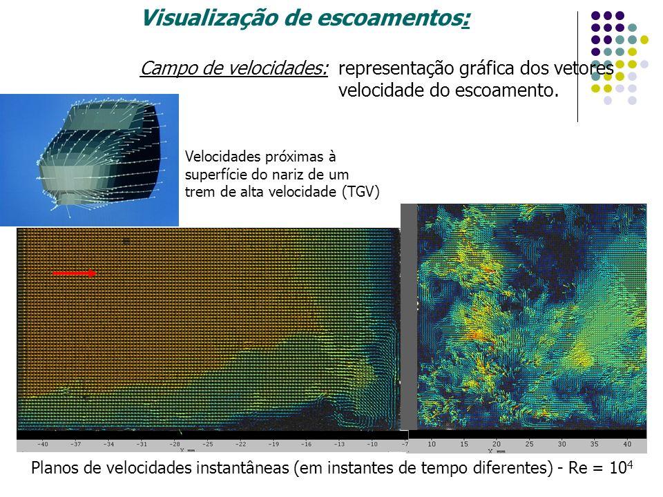 Visualização de escoamentos: Campo de velocidades: representação gráfica dos vetores velocidade do escoamento. Velocidades próximas à superfície do na