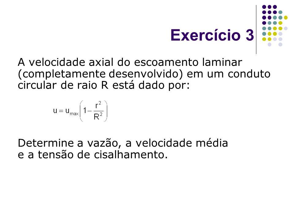 Exercício 3 A velocidade axial do escoamento laminar (completamente desenvolvido) em um conduto circular de raio R está dado por: Determine a vazão, a