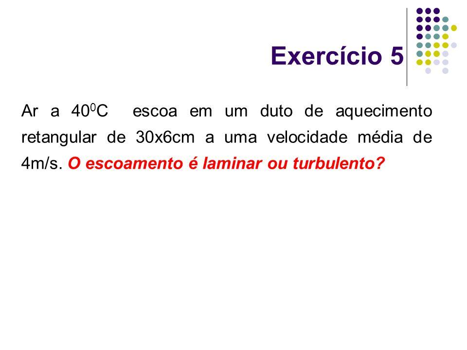 Ar a 40 0 C escoa em um duto de aquecimento retangular de 30x6cm a uma velocidade média de 4m/s. O escoamento é laminar ou turbulento? Exercício 5