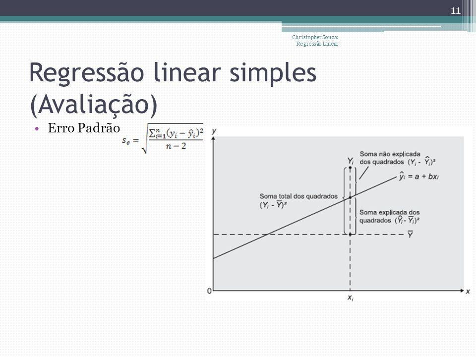 Regressão linear simples (Avaliação) Erro Padrão Christopher Souza: Regressão Linear 11