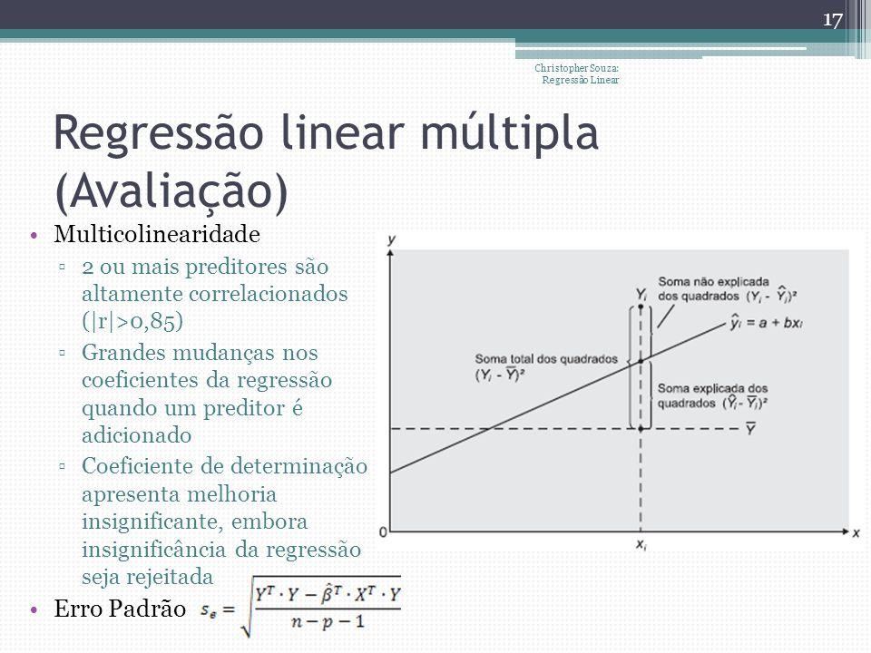 Regressão linear múltipla (Avaliação) Multicolinearidade 2 ou mais preditores são altamente correlacionados (|r|>0,85) Grandes mudanças nos coeficient