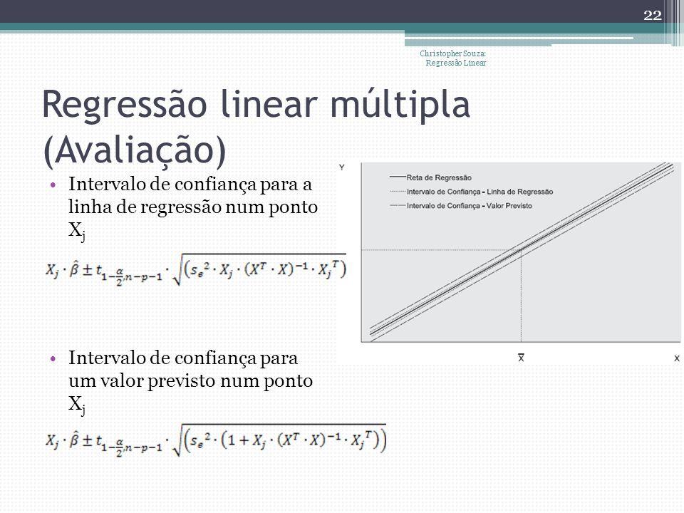 Regressão linear múltipla (Avaliação) Christopher Souza: Regressão Linear 22 Intervalo de confiança para a linha de regressão num ponto X j Intervalo
