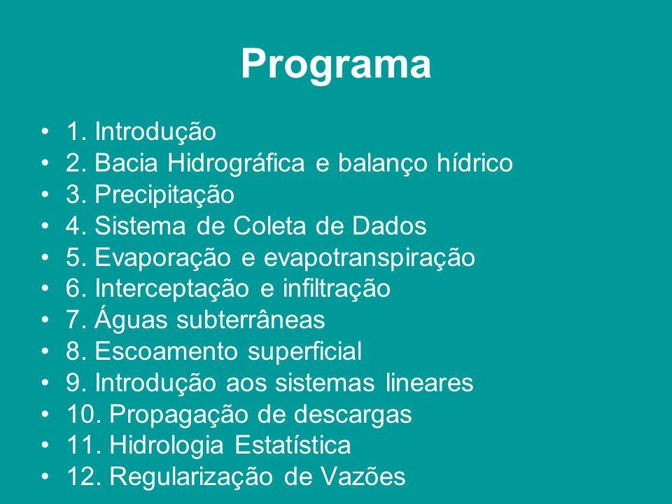 Programa 1. Introdução 2. Bacia Hidrográfica e balanço hídrico 3. Precipitação 4. Sistema de Coleta de Dados 5. Evaporação e evapotranspiração 6. Inte