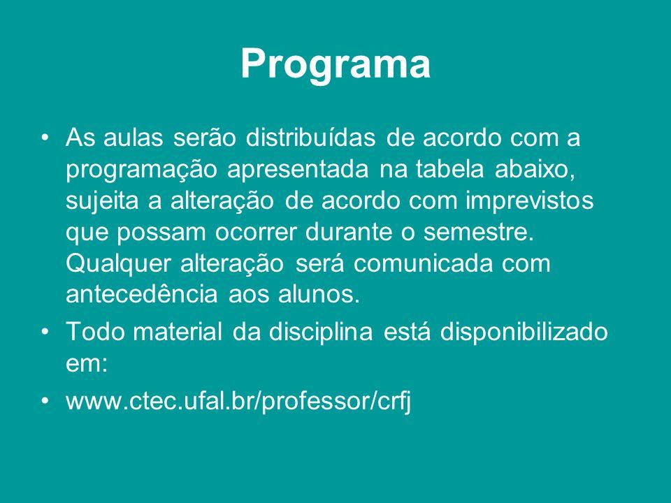 Programa As aulas serão distribuídas de acordo com a programação apresentada na tabela abaixo, sujeita a alteração de acordo com imprevistos que possam ocorrer durante o semestre.