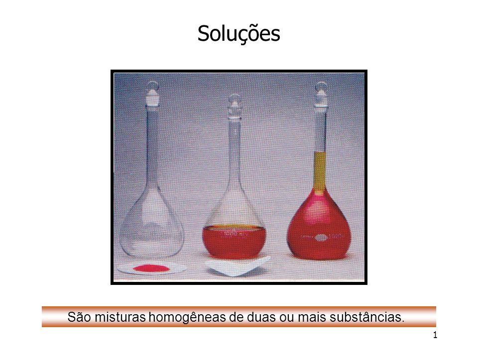 1 Soluções São misturas homogêneas de duas ou mais substâncias.