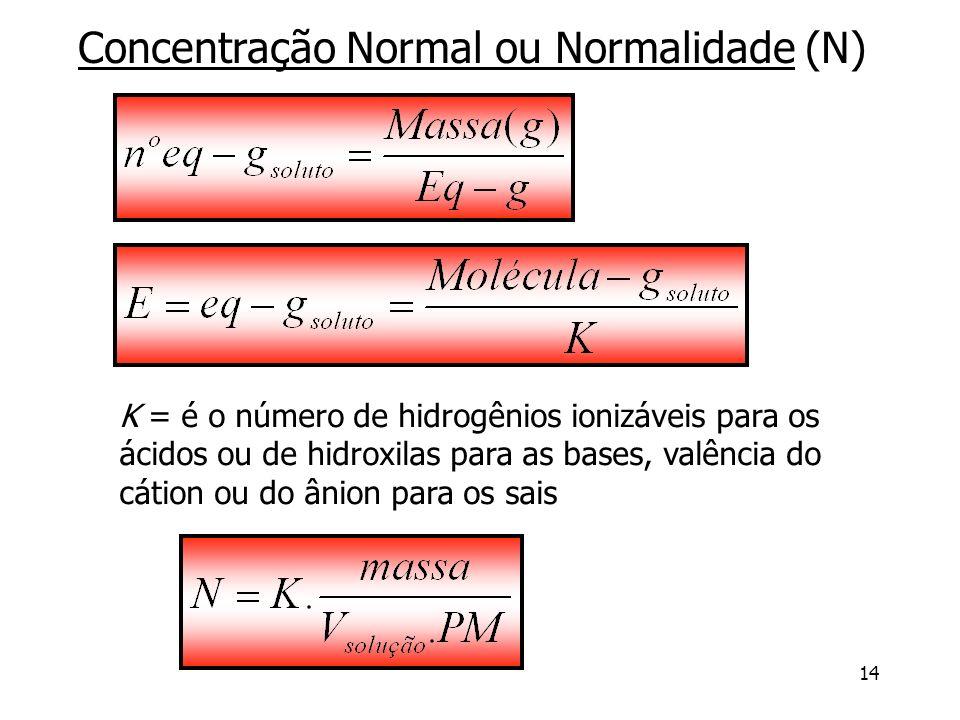 14 Concentração Normal ou Normalidade (N) K = é o número de hidrogênios ionizáveis para os ácidos ou de hidroxilas para as bases, valência do cátion o