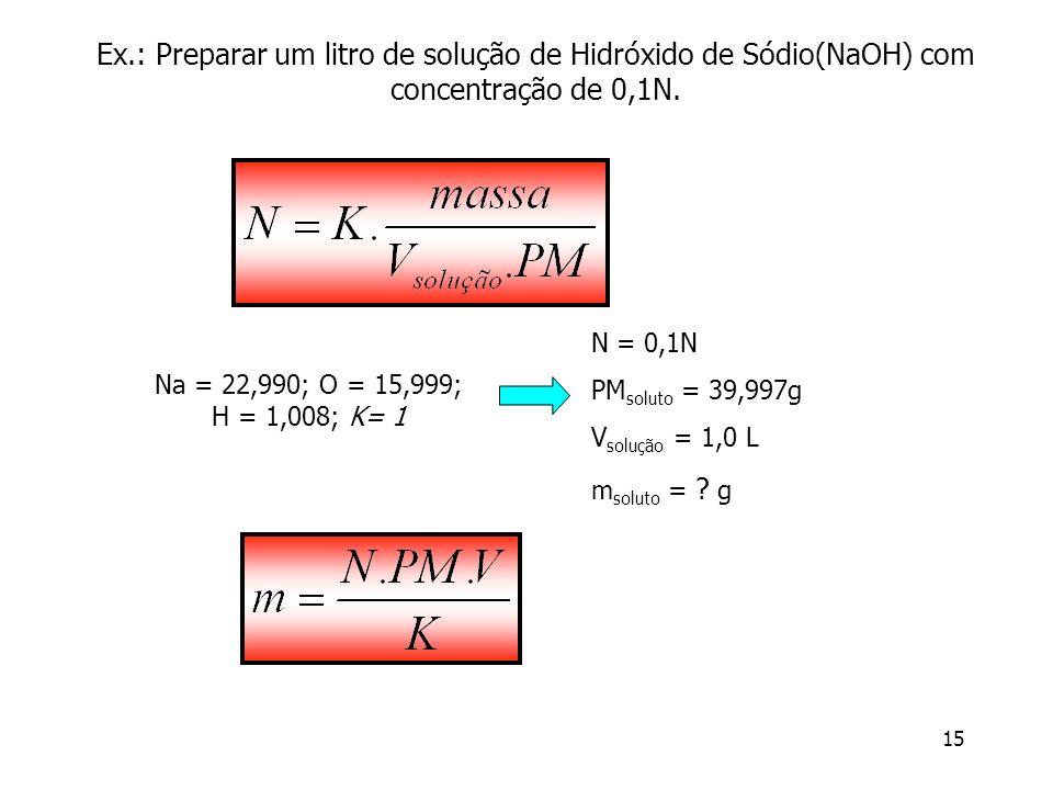 15 Ex.: Preparar um litro de solução de Hidróxido de Sódio(NaOH) com concentração de 0,1N. N = 0,1N PM soluto = 39,997g V solução = 1,0 L m soluto = ?