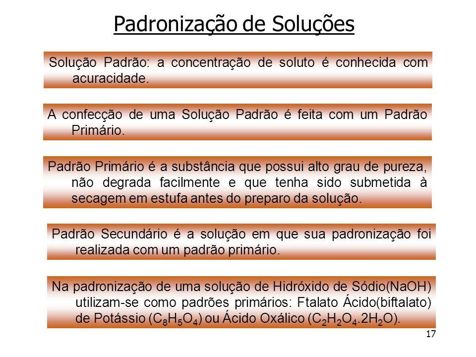 17 Padronização de Soluções Solução Padrão: a concentração de soluto é conhecida com acuracidade. A confecção de uma Solução Padrão é feita com um Pad