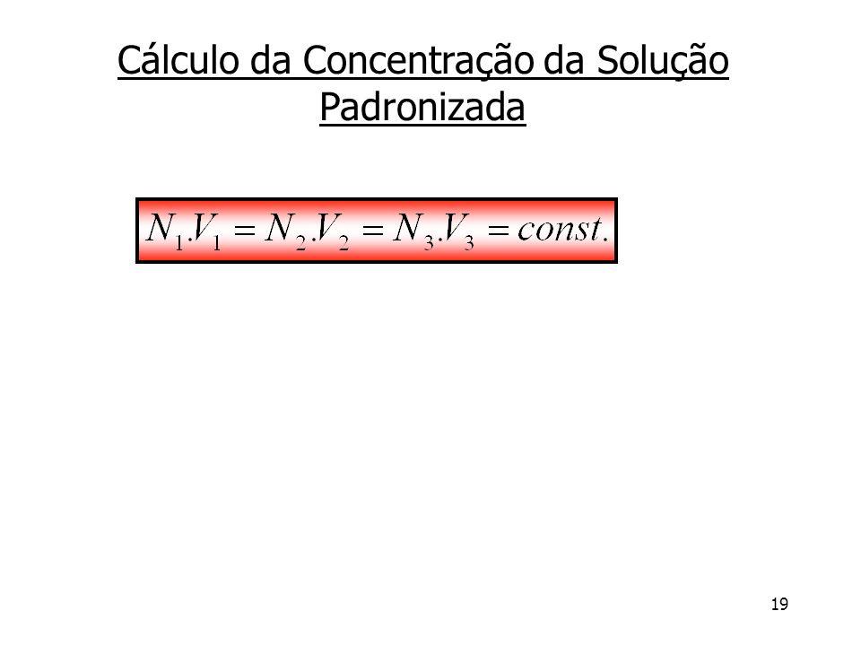 19 Cálculo da Concentração da Solução Padronizada
