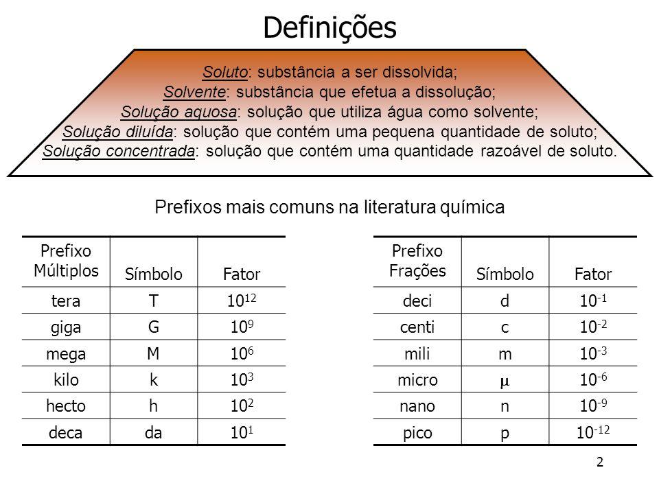 3 Concentração das Soluções Denomina-se concentração de uma solução toda e qualquer forma de expressar a proporção existente entre a quantidade do soluto e a quantidade do solvente ou solução.