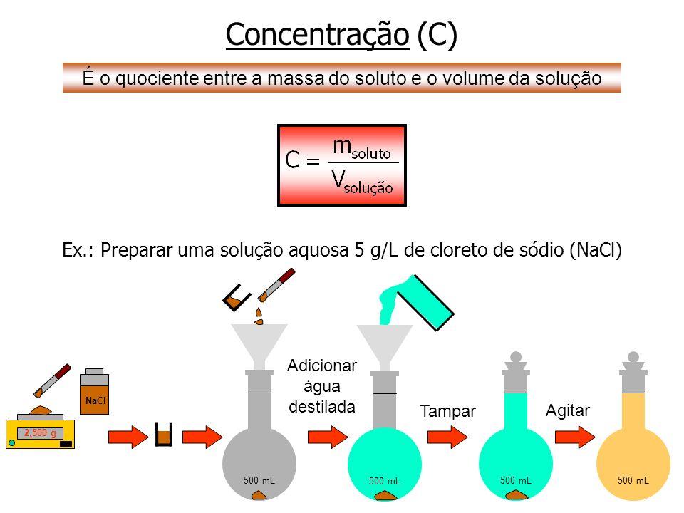 4 500 mL Adicionar água destilada Concentração (C) É o quociente entre a massa do soluto e o volume da solução Ex.: Preparar uma solução aquosa 5 g/L