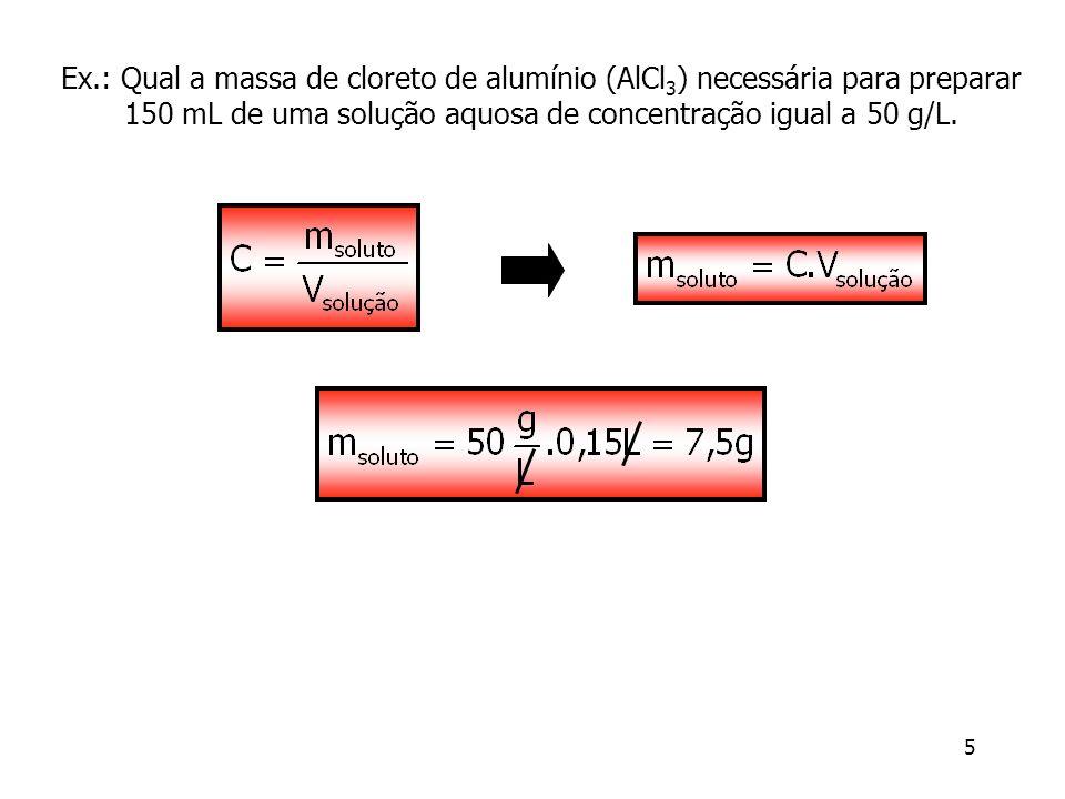 6 Concentração Molar ou Molaridade (M) É o quociente entre o número de moles do soluto e o volume da solução em litros (M = mol/L ou mol L -1 ) como